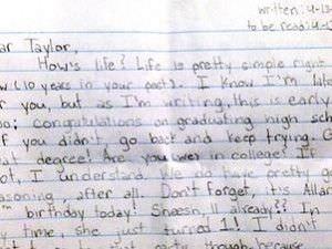 Emotiva carta de una niña a ella misma en el futuro