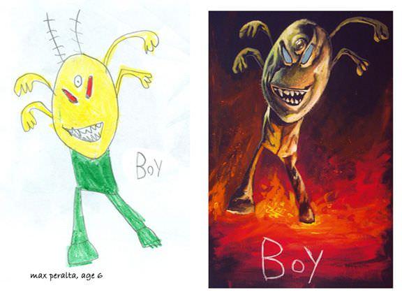 Artistas reinventan dibujos hechos por niños
