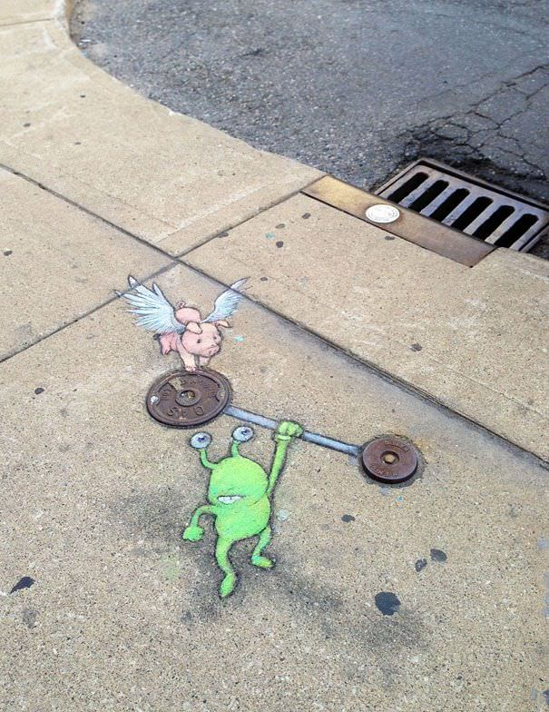 Arte callejero las aventuras de un marciano pintado con tizas