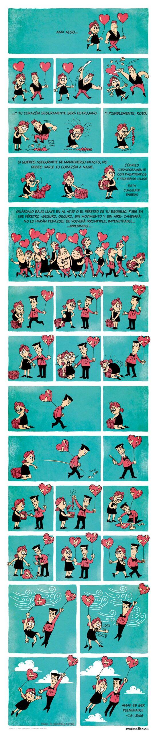 Amar es ser vulnerable una viñeta que te ayudará a entender mejor el amor
