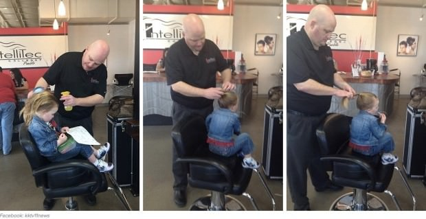 Este padre hizo un curso de peluquería para aprender a peinar a su hija 5