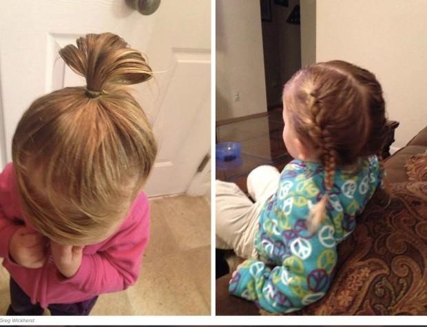 Este padre hizo un curso de peluquería para aprender a peinar a su hija 6