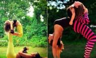 Terapias alternativas una madre y su hija de 4 años practicando yoga