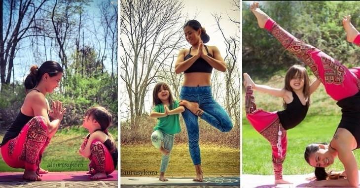 Terapias alternativas una madre y su hija de 4 años practicando yoga 8