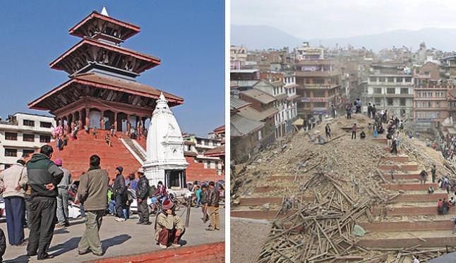Terremoto del Nepal antes y después de los monumentos históricos 1