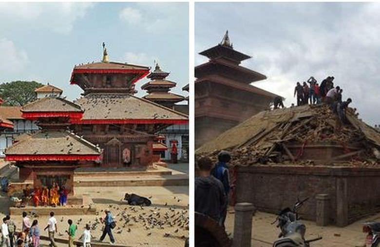 Terremoto del Nepal antes y después de los monumentos históricos 2
