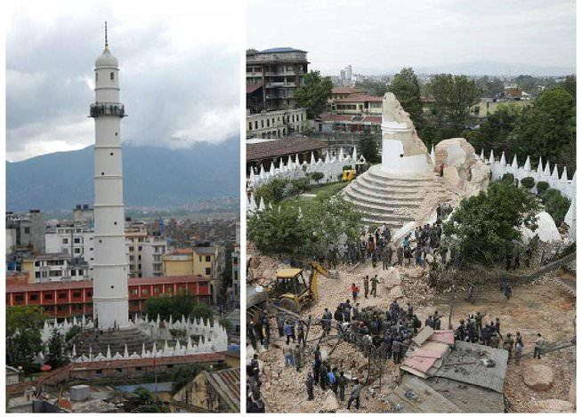 Terremoto del Nepal antes y después de los monumentos históricos 3
