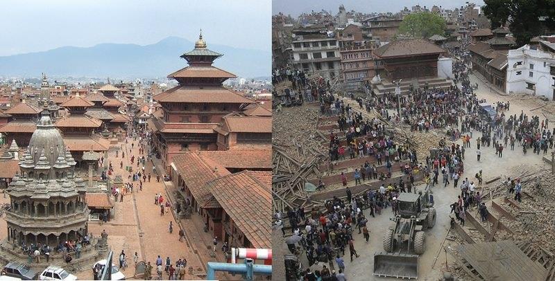 Terremoto del Nepal antes y después de los monumentos históricos 4