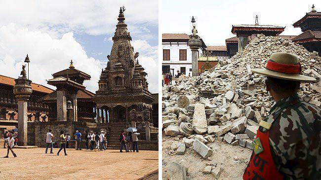 Terremoto del Nepal antes y después de los monumentos históricos 5